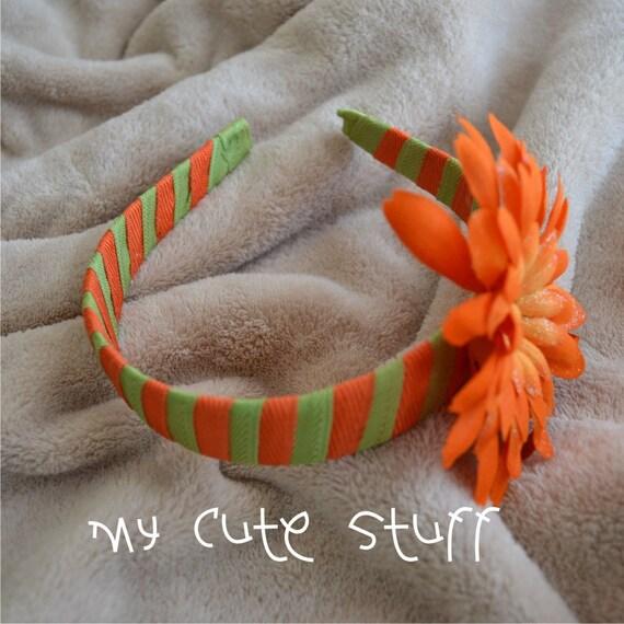 Orange and Apple Green Grosgrain Ribbon Headband