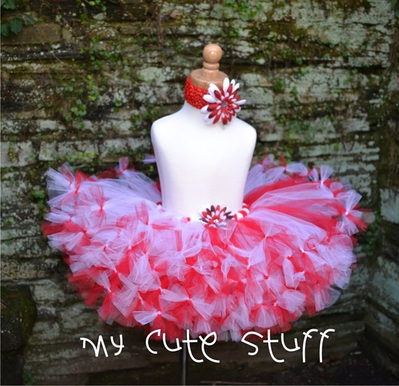 Candy Cane  Princess Tutu and Elastic Headband - Sizes 6 9 12 18 24 Months 2T 3T 4T 5T - Birthdays, Photos, Holidays, Baby Shower, Gifts