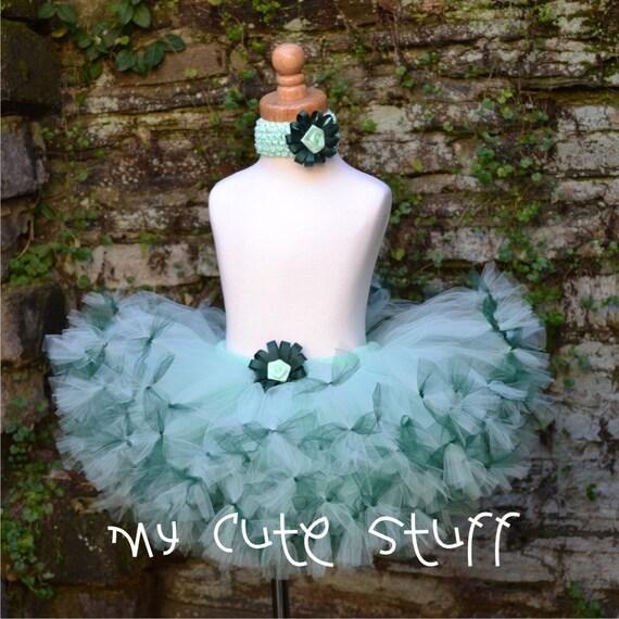 Mint Princess Tutu and Elastic Headband - Sizes Newborn to 6 months - Birthdays, Photos, Holidays, Baby Shower, Gifts