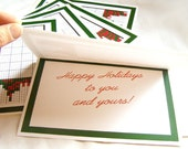 PrismaPixels(TM) Holiday Greeting Card - Solveable Puzzle on the Front, Solution on the Back