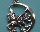 Pegasus and crescent moon pendant in solid silver