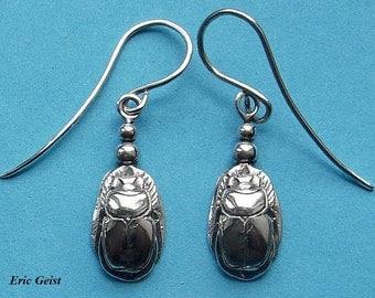 Scarab earrings in solid sterling silver