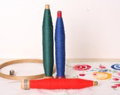 Vintage Wooden Spindles with Jewel Tones Thread Set of 3