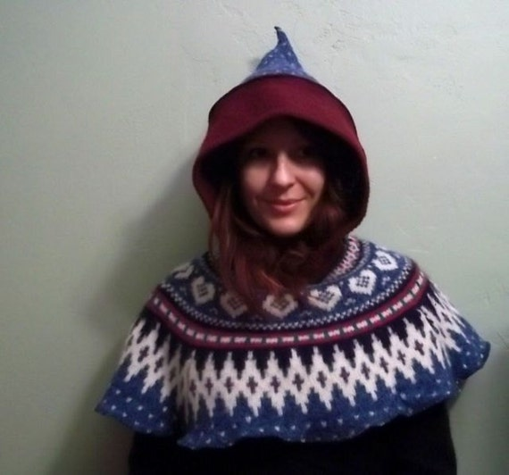Upcycled Wool Hooded Nordic Gnome Medieval Capelet