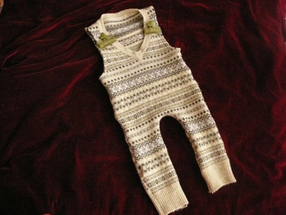 Reserved for Jessica Little Lambs Eat Ivy Fair Isle Greens Repurposed Wool Sweater Overalls 9-18 months