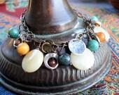 Golden Quartz, Jade, New Jade, and Metal Bracelet