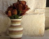 Brown Vase with ivory and tan Autumn Inspired Stripes, Glass and Stucco Handpainted