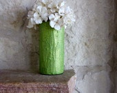 Green Vase Green Glitter Stuccoed and Painted Vase Gift Under 20