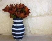 Blue Vase Navy Blue and White Stripes Painted Vase Cottage Decor