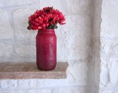 Ombre Red Vase / Bold Red Home Decor / flower vase / upcycled large jar / made to order