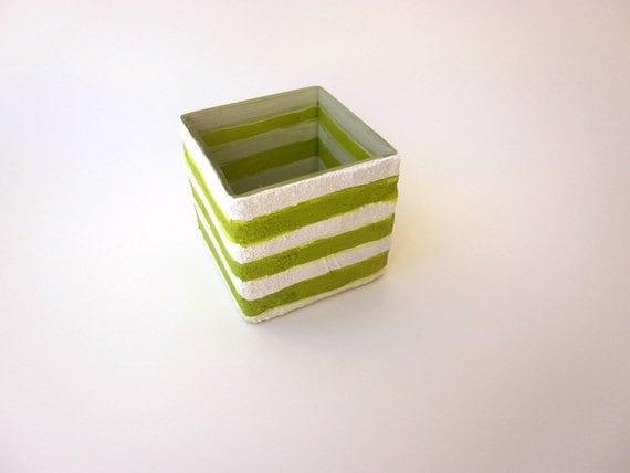 Lime Green and White Thumbtack holder desk art Desk accessory