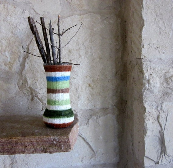 Rustic Vase Natural Stripes Textured Handpainted Glass and Stucco