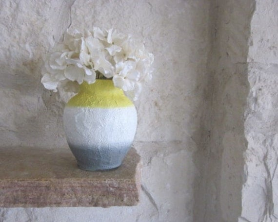 Yellow White And Gray Vase Glass And Stucco By Carriageoakcottage