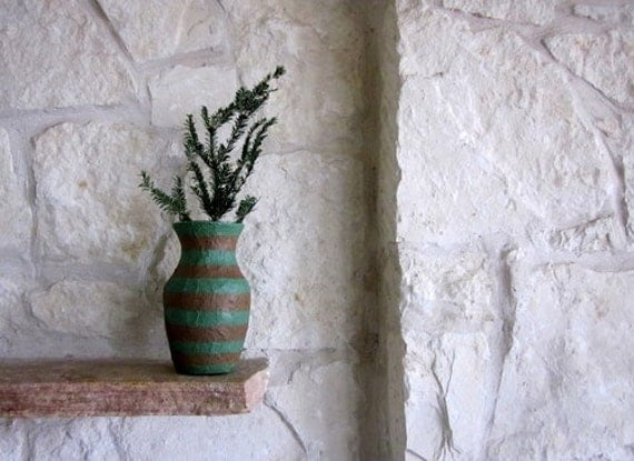 Brown and Green Vase / Neutral Home Decor / country home / handcrafted Vase