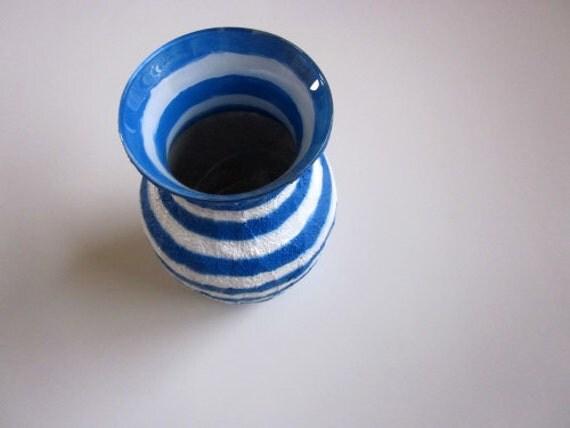 Blue vase / white striped vase / blue home decor / home and garden