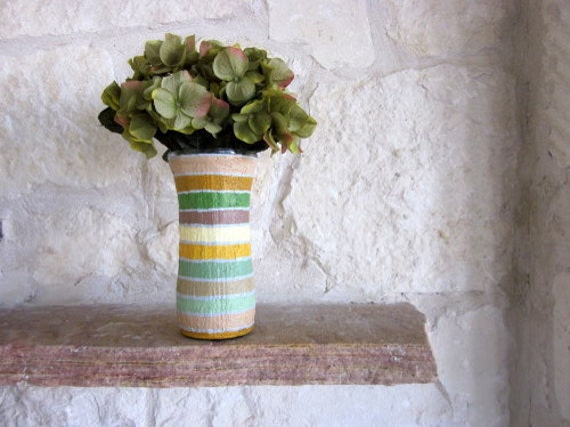 Vase / Neutral Home Decor / Striped Brown Vase / flower vase