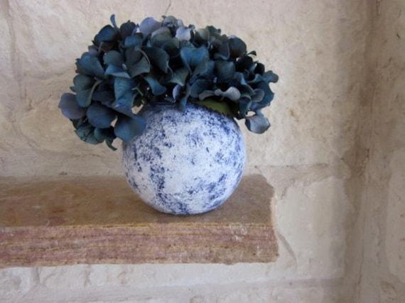 Blue Vase / Country Blue and white stone vase /  handcrafted vase