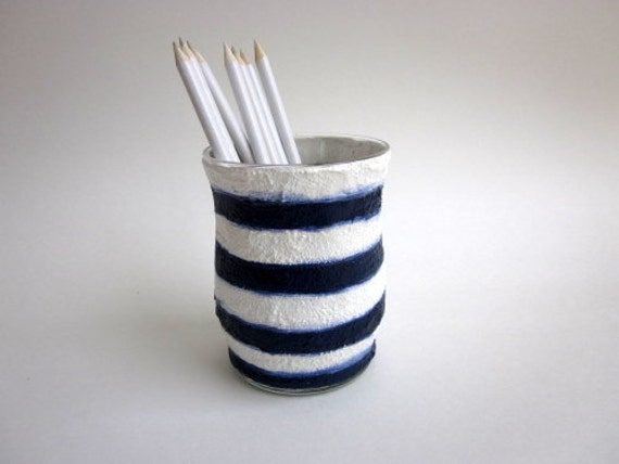 Pencil holder / Nautical Stripes Navy Blue and White Pen Cup / made to order