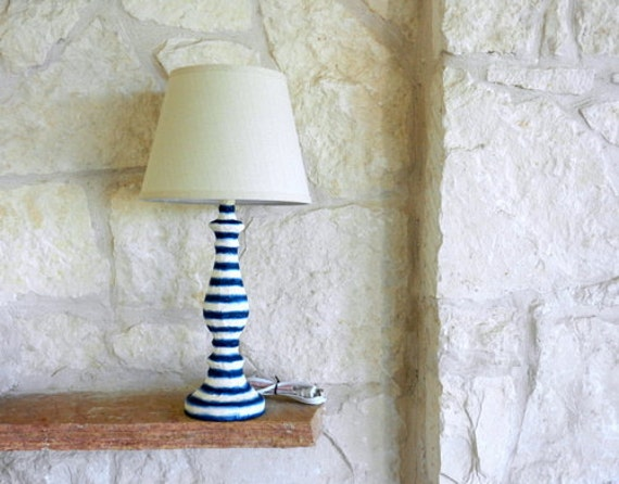 Items Similar To Navy Blue And Cream Striped Lamp