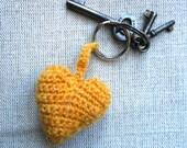 Ochre Crochet Heart Keyring