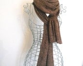 Brown Lace Knit Lambswool Scarf