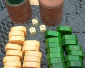 Complete set of bakelite 30 backgammon pieces, 2 leather cups, How to Play Booklet and 3 bakelite dice cubes