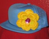 Infant/Kids Mesh Trucker - Rhinestone Flower