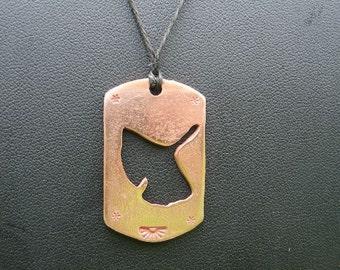 Copper Ginkgo Leaf Pendant