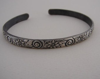 Sterling Silver Flower Cuff Bracelet with Spiral Flower Design