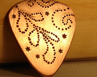 Copper Guitar Pick Pointism Gone Crazy with Leaves and Flowers