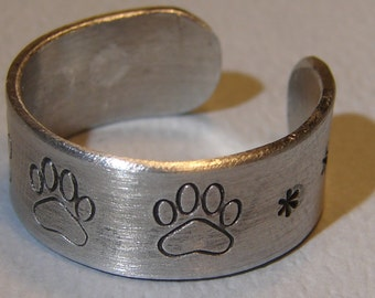 Paw Print Ring Adjustable and Handmade from Aluminum