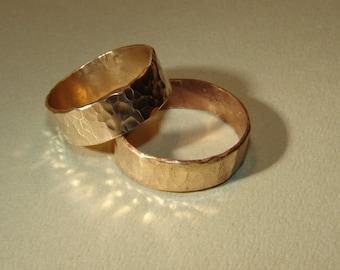 Bronze hammered ring set