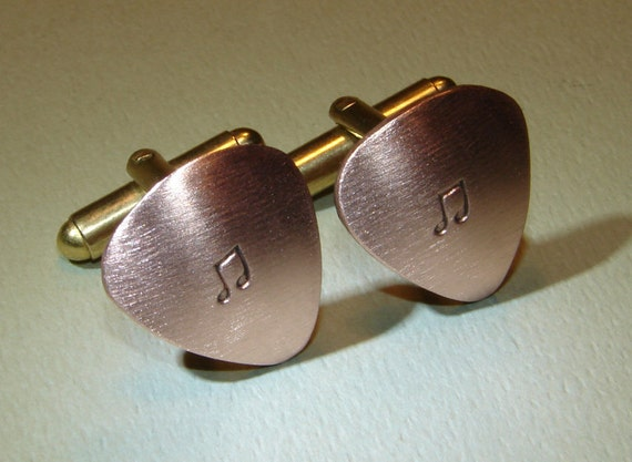 Guitar pick cuff links handmade from copper with music notes