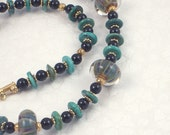 Lampwork Glass, Turquoise , and Black Onyx Necklace
