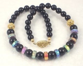 Rainbow Dichroic Glass and Black Onyx Choker Necklace with Gold