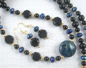 Lampwork Glass and Black Onyx Long Necklace with Matching Earrings - Black Peacock
