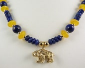 UC Berkeley Themed Blue and Gold Bear Necklace with Lapis, Sodalite, and Golden Yellow Amber