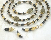 Reading Glasses Chain with Extra Loops - Black and Gold