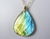 Labradorite Necklace, Large Labradorite Pendant with Brilliant Aqua, Blue, and Lemon Lime Gold Flash on a Gold Chain - RazzleBedazzle