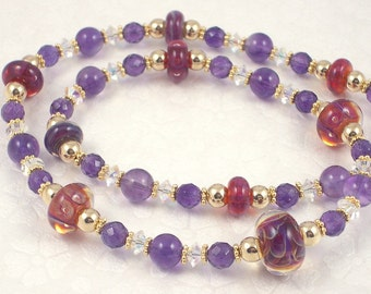 Purple Amethyst and Raspberry Red Boro Lampwork Art Glass Adjustable Length Necklace with Gold and Crystals