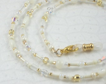 Beaded Eyeglass Chain with Extra Loop Ends - Winter White