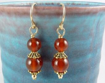 Burnt Orange Carnelian Earrings, Gold Ear Wires