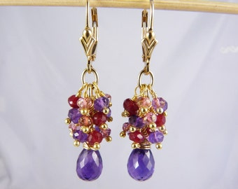 Luxurious Purple Amethyst, Pink Topaz, Ruby Quartz, and Gold Cluster Earrings