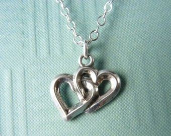 Heart Necklace with Sterling Silver Entwined Hearts on a Sterling Silver Chain