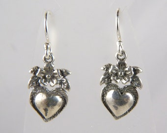 Silver Heart Earrings with Sterling Silver Hearts and Flowers