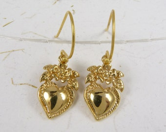 Gold Vermeil Heart and Flower Earrings