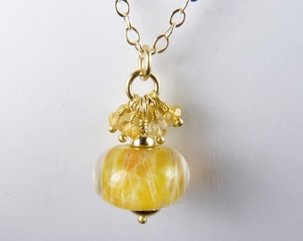 Boro Lampwork Glass Necklace with Faceted Citrine Gems and Gold - Sunshine and Light
