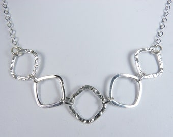 Sterling Silver Necklace with Hammered and Smooth Links - Adjustable Length