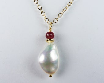 Keishi Style Coin Pearl Necklace with a Gorgeous Large Pearl, Faceted Ruby, and an Adjustable Length Gold and Ruby Chain