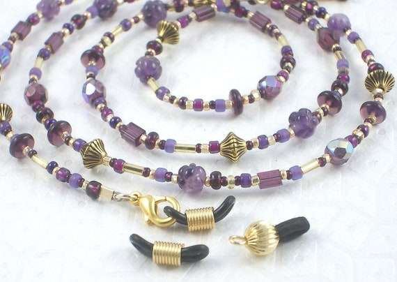 Eyeglass Chain - Royal Purple with Carved Amethysts and Two Pairs of Extra Ends